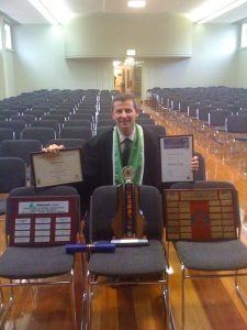 Al with the perpetual trophies that will go back to the Creswick campus